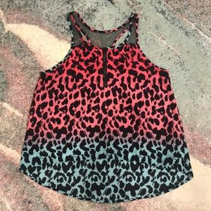 Animal Print High Low Tank Top